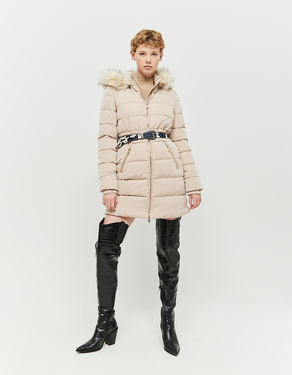 Beige Faux Fur Lined Puffer Coat