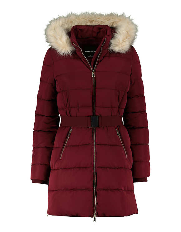 Burgundy Faux Fur Lined Puffer Coat
