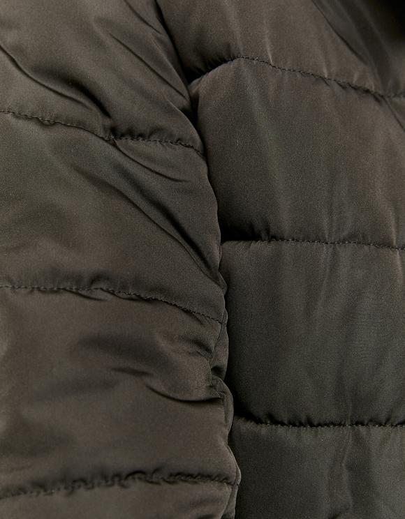 Cappotto Imbottito con Pelliccia Sintetica Nero