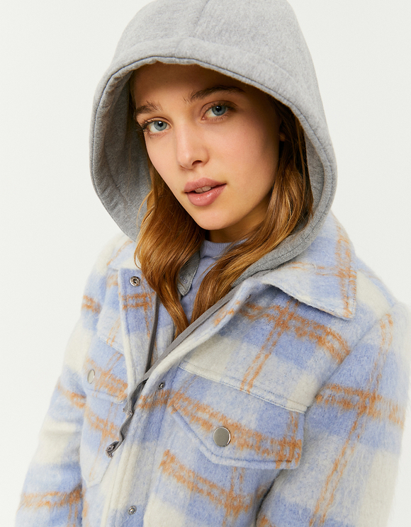 Check Shacket with Removable Hood