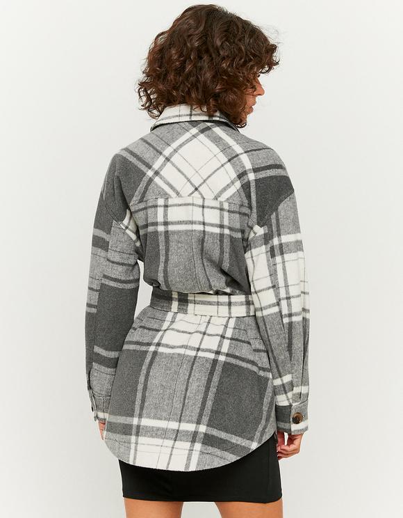 Belted Check Shacket