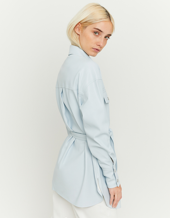 Light Blue Faux Leather Shacket