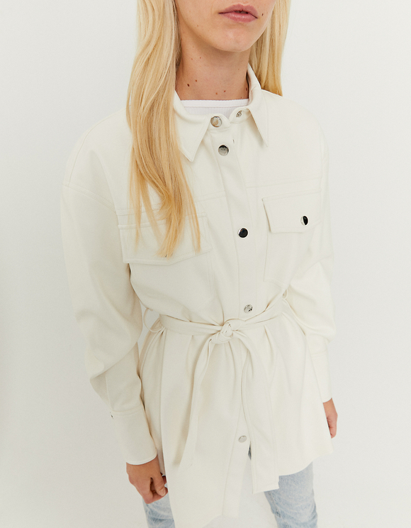 White Faux Leather Shacket