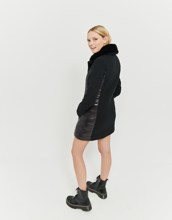 Black Puffer Coat with Removable Faux fur