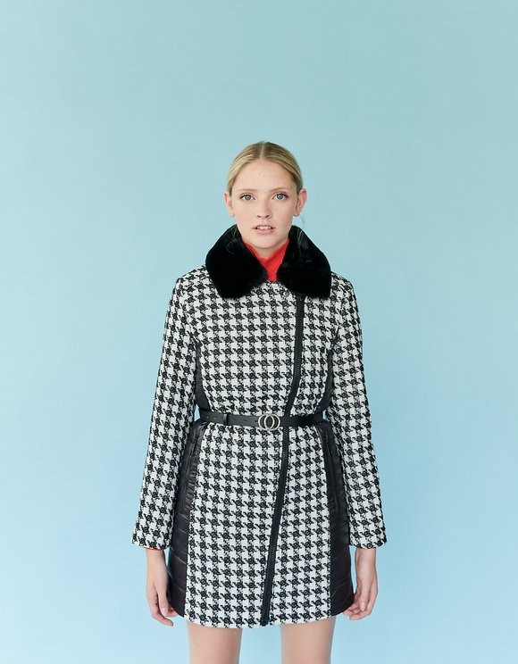 Houndstooth Check Puffer Coat with Removable Faux fur