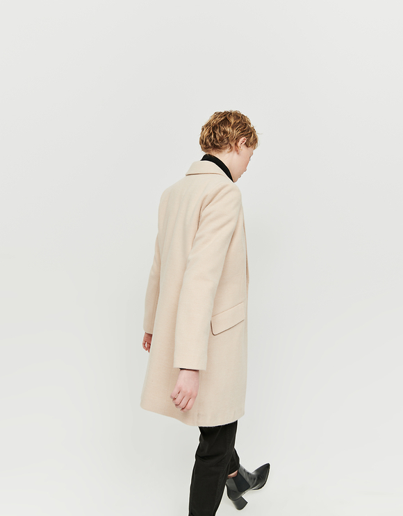Beige Chevron Pattern Straight Fit Coat