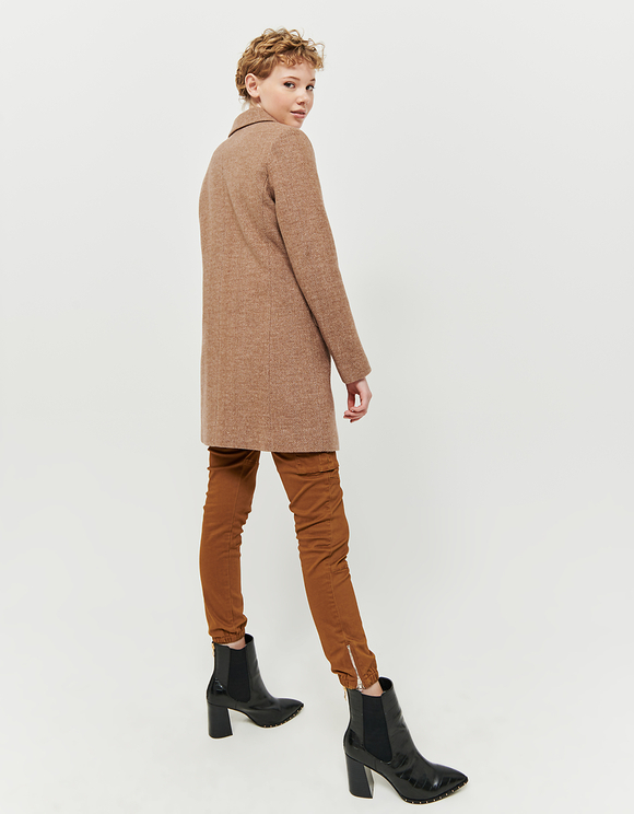 Brown Chevron Pattern Straight Fit Coat