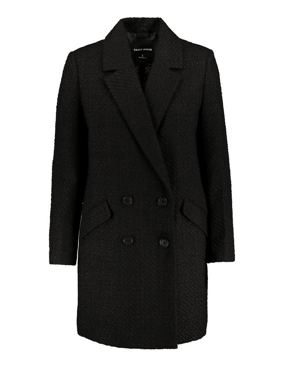 Black Double Breasted Tweed Coat