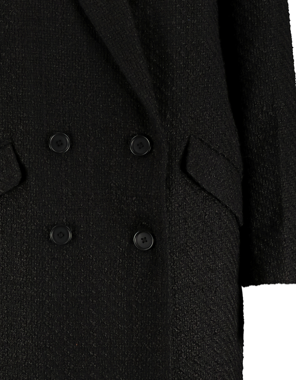 Cappotto Doppiopetto in Tweed Nero