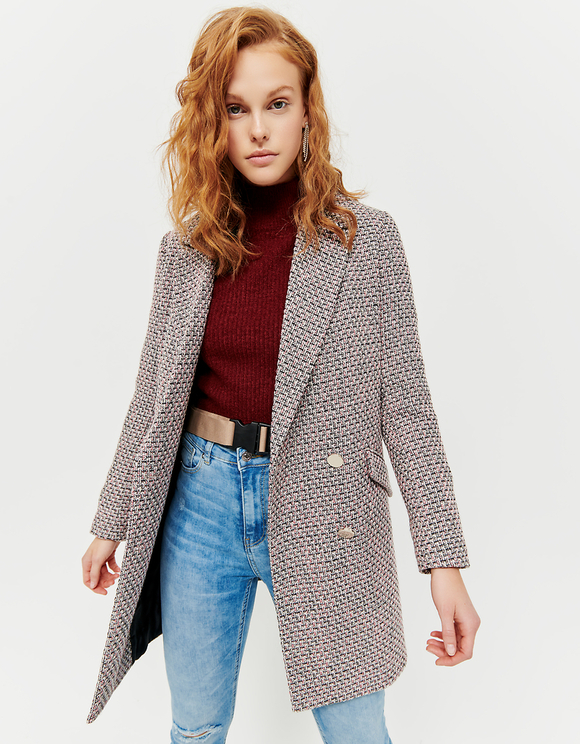 Double Breasted Tweed Coat