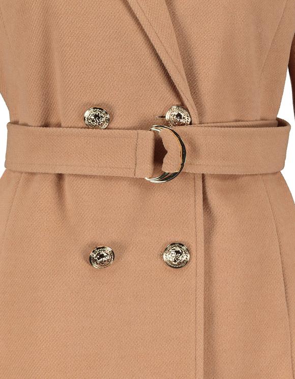 Beige Straight Coat with Belt