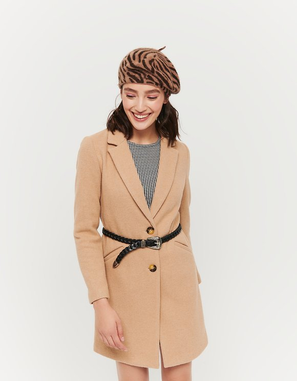 Camel Straight fit Coat