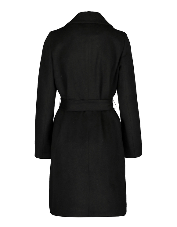 Black Straight Coat with Belt