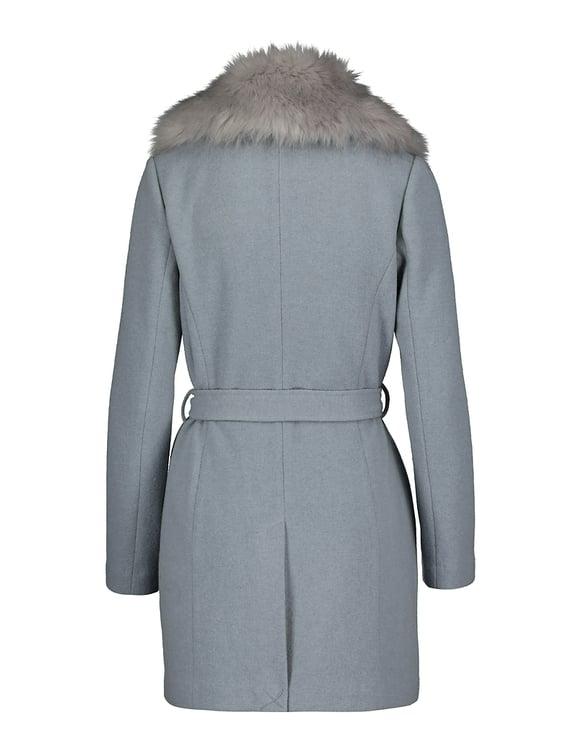 Light Blue Coat with Removable Faux Fur