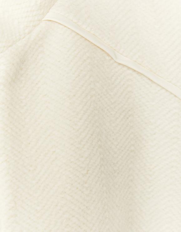 Manteau Blanc Cassé Fermeture Éclair