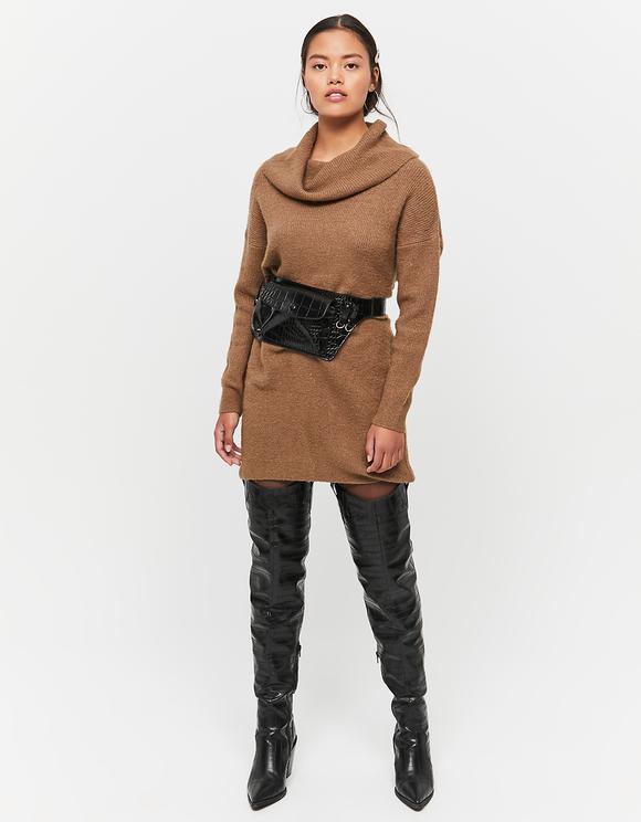 Brown Knitted Off Shoulder Dress