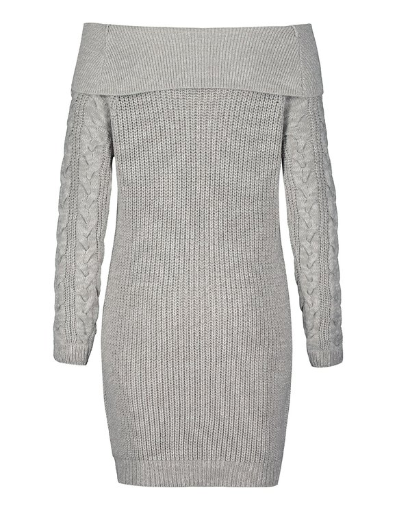 Grey Cable Knit Dress