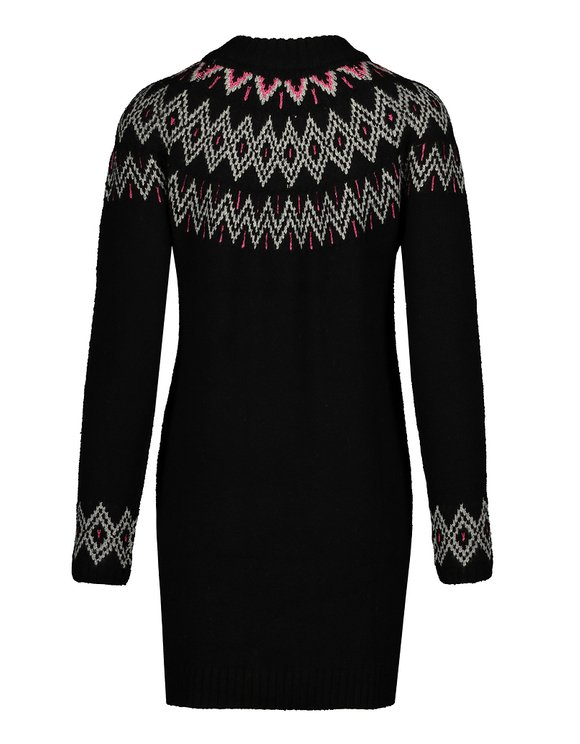 Black Printed Knitted Dress