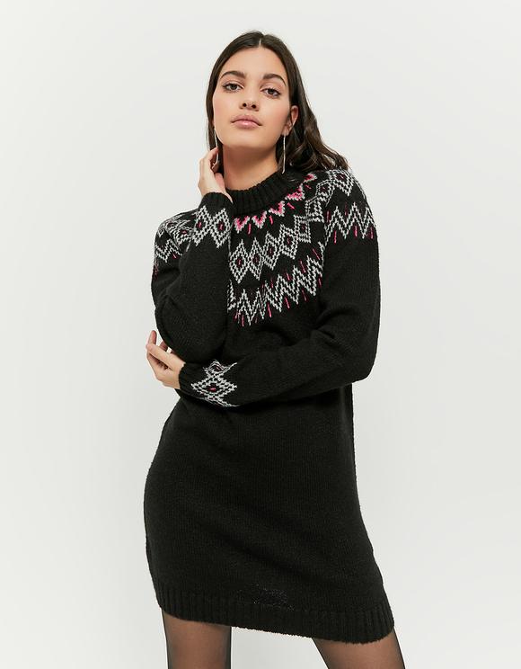 Robe en Maille Imprimée Noire