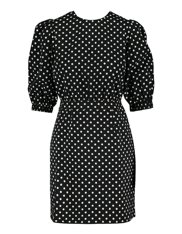 Polka Dot Print Puff Sleeve Dress