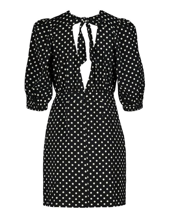 Gepunktetes Kleid mit Puffärmeln