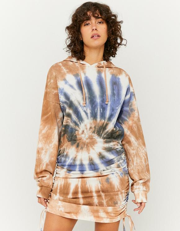 Sukienka dresowa z kapturem ze ściągaczami