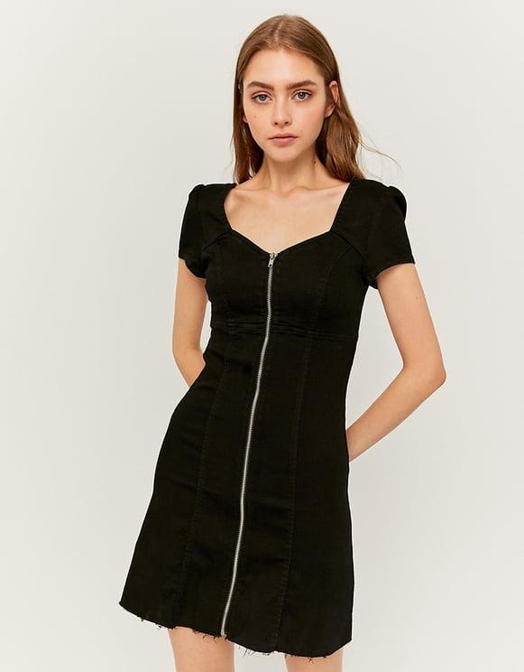 Denim Dress with Puffed Sleeves