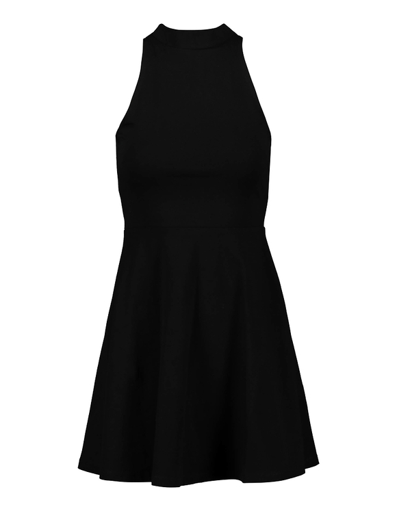 Robe Patineuse Noire Col Montant