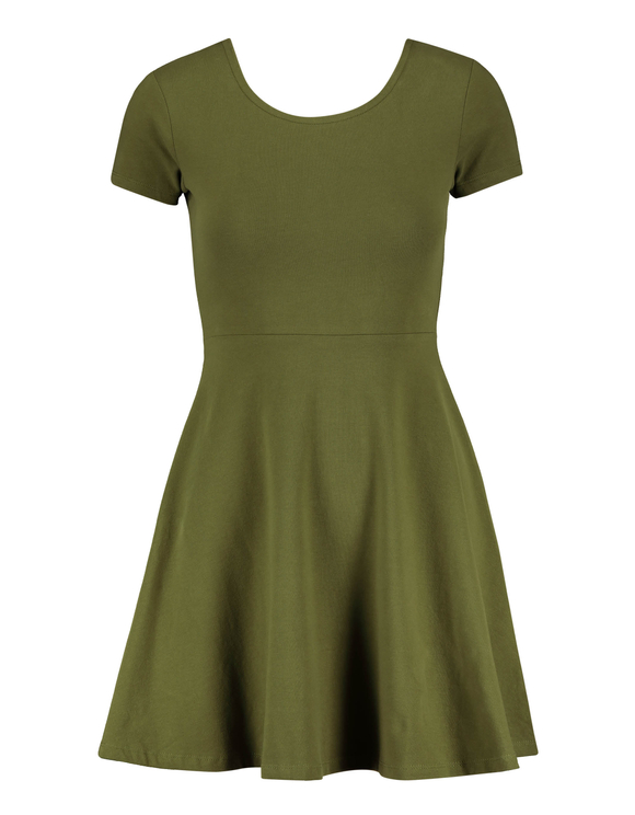 Ausgestelltes, khaki Kleid mit Criss Cross