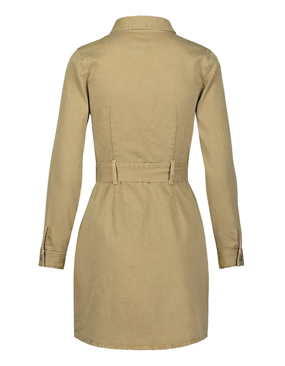 Robe Moulante Manches Longues Beige