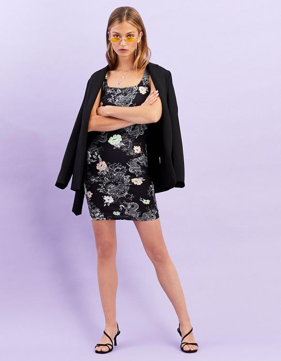 Black Oriental Print Dress