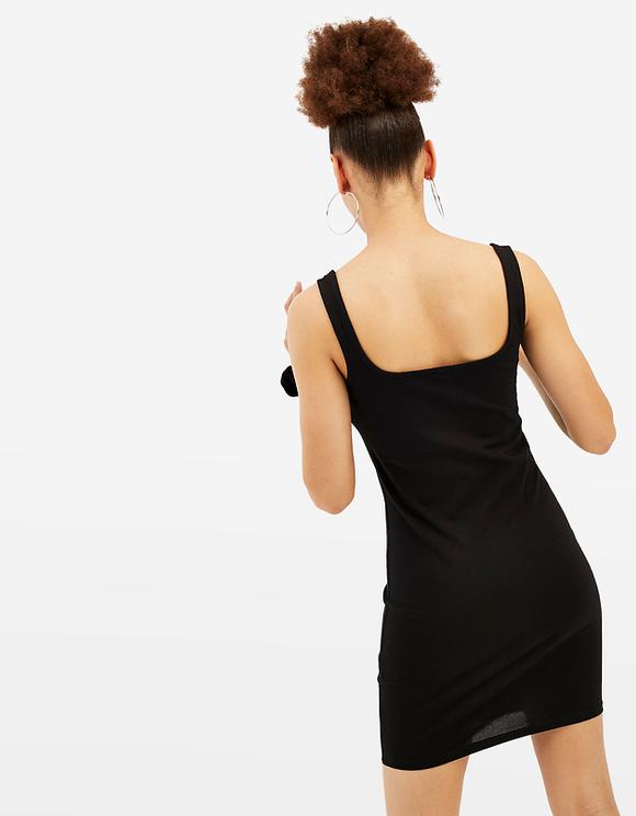 Schwarzes Kleid mit Slogan
