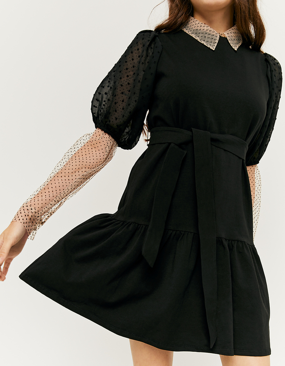 Dotted Mesh Puff Sleeve Dress