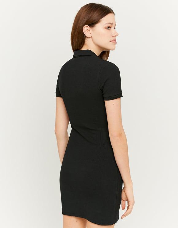 Rib Polo Collar Mini Dress