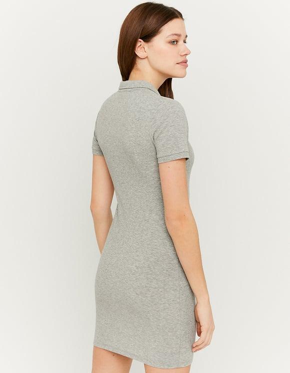 Geripptes Mini Kleid mit Polo-Kragen