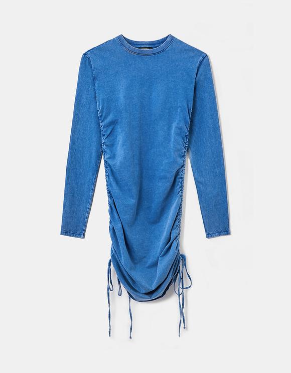 Robe Courte Froncée Bleue