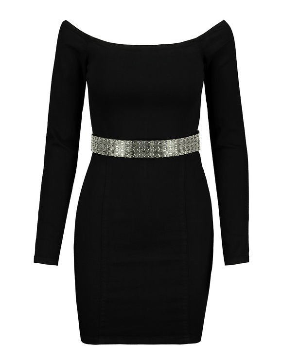 Off Shoulder Bodycon Dress with Strass Belt