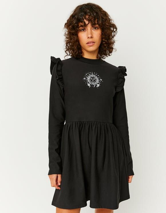 Black Print Ruffle Dress