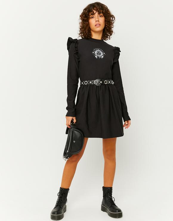 Loose Printed Ruffle Dress