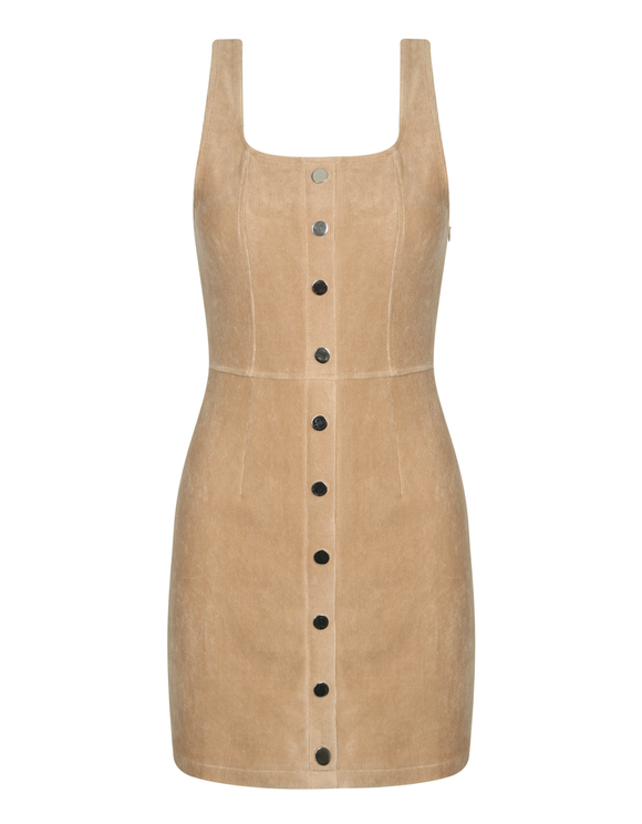 Beige Ribbed Velvet Dress