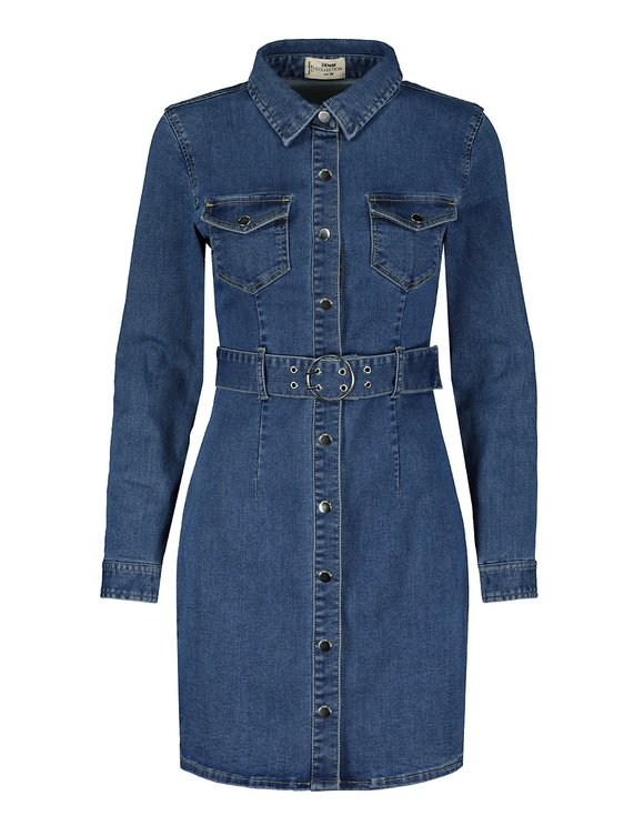 Denim largärmliges, figurbetontes Kleid