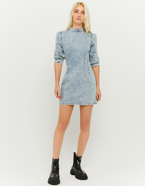 Denim Dress with Puff Sleeves