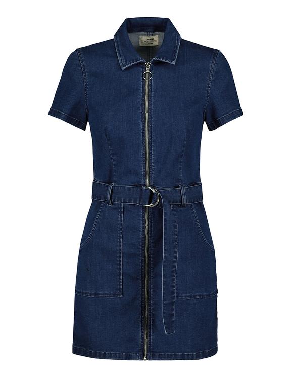 Denim Zipped Utility Dress