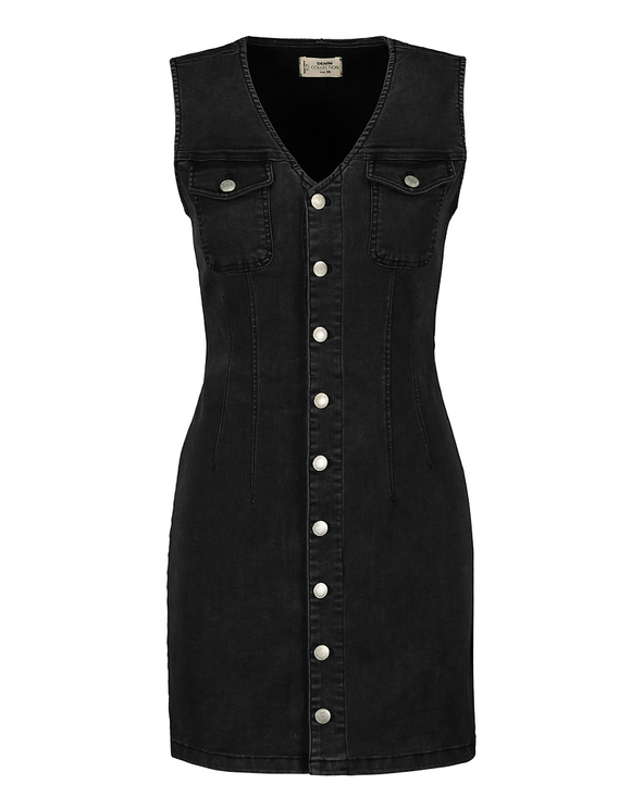 Bodycon Denim Dress with Buttons