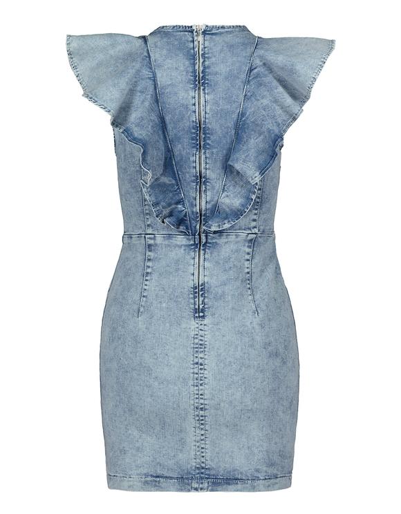 Figurbetontes Denim Kleid mit Rüschen