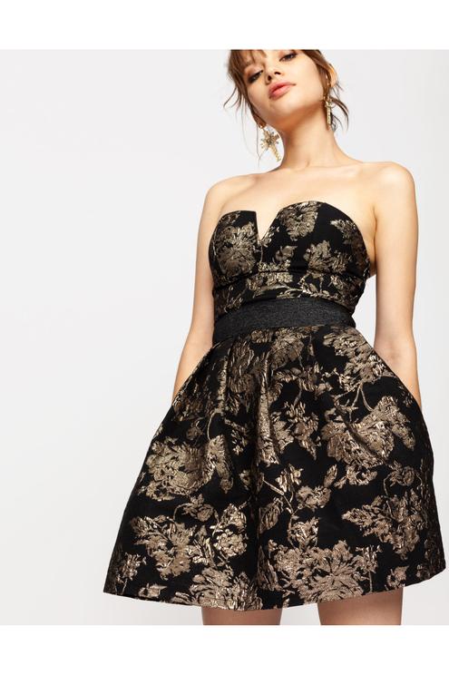 Gold & Black Jacquard Dress