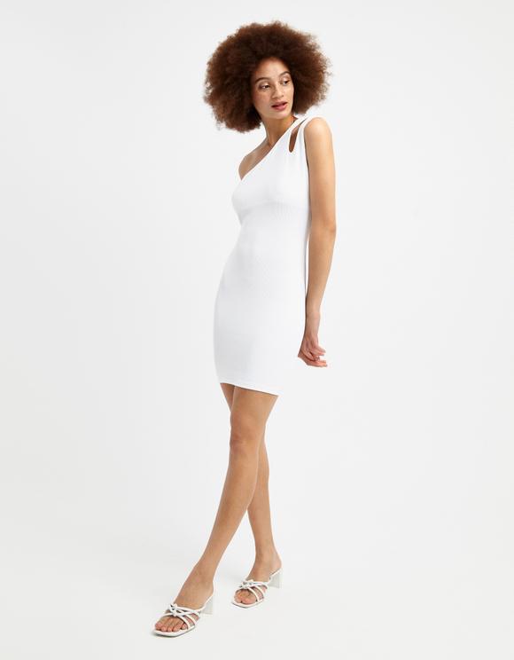 Weißes, asymmetrisches Kleid