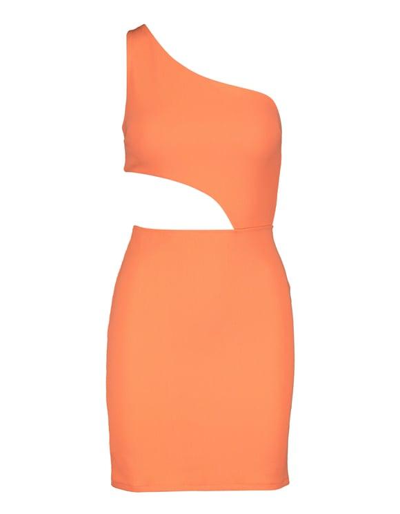 Robe Asymétrique Orange Fluo