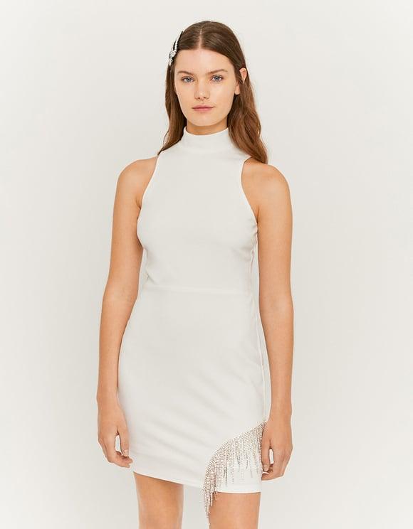 White Mock Neck Bodycon Dress