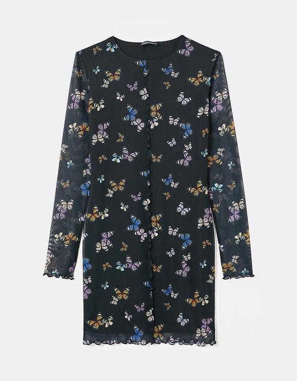 Butterfly Print Lettuce Hem Dress